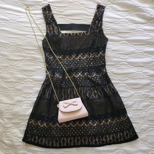 Black and Nude Lace Mini Dress